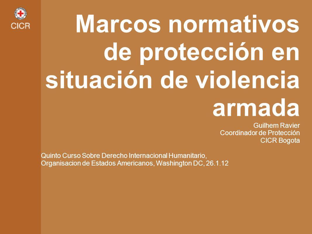 Marcos normativos de protección en situación de violencia armada Guilhem Ravier Coordinador de Protección CICR Bogota Quinto Curso Sobre Derecho Inter