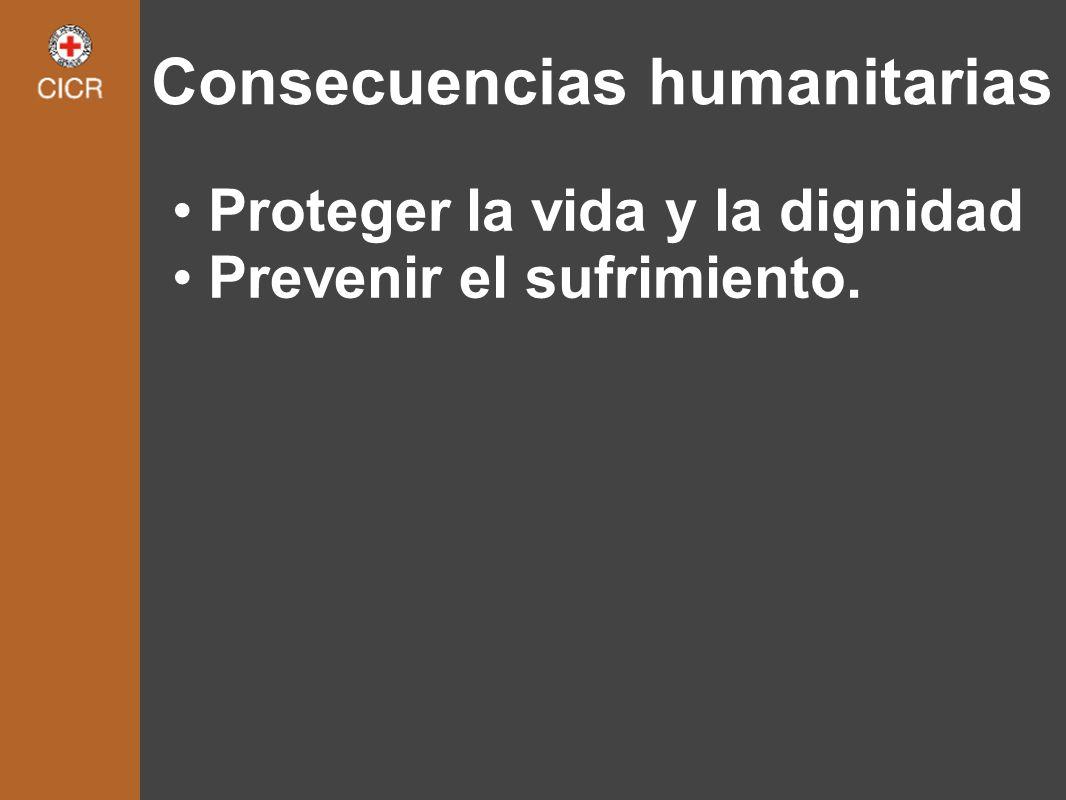 Consecuencias humanitarias Proteger la vida y la dignidad Prevenir el sufrimiento.