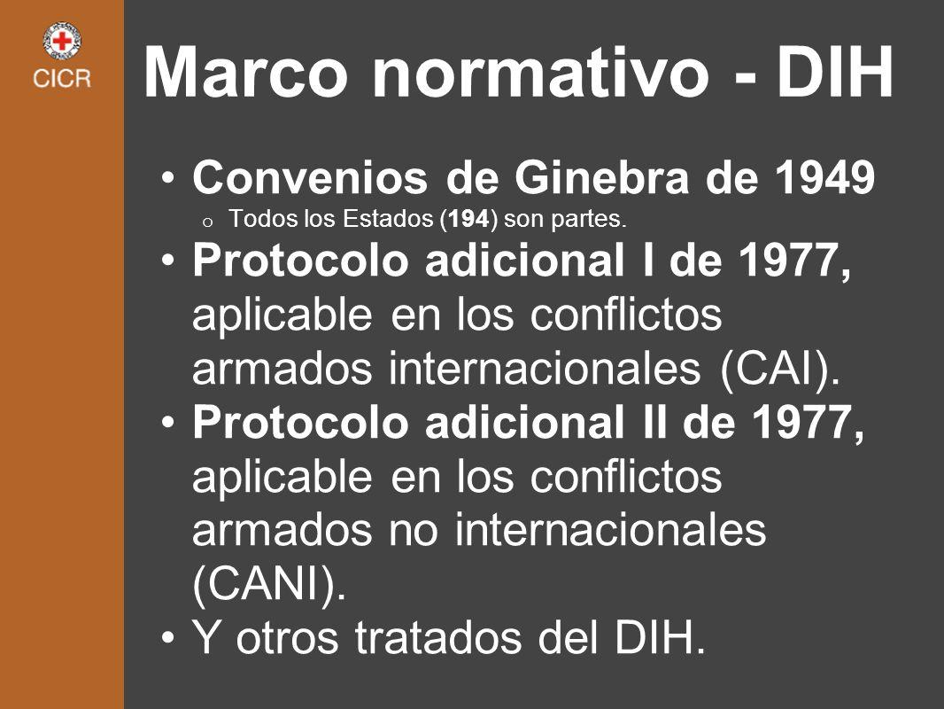 Marco normativo - DIH Convenios de Ginebra de 1949 o Todos los Estados (194) son partes. Protocolo adicional I de 1977, aplicable en los conflictos ar