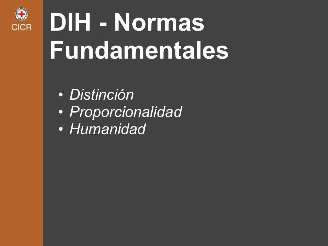 DIH - Normas Fundamentales Distinción Proporcionalidad Humanidad