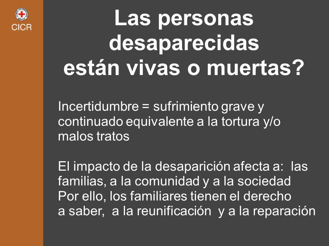 Las personas desaparecidas están vivas o muertas? Incertidumbre = sufrimiento grave y continuado equivalente a la tortura y/o malos tratos El impacto