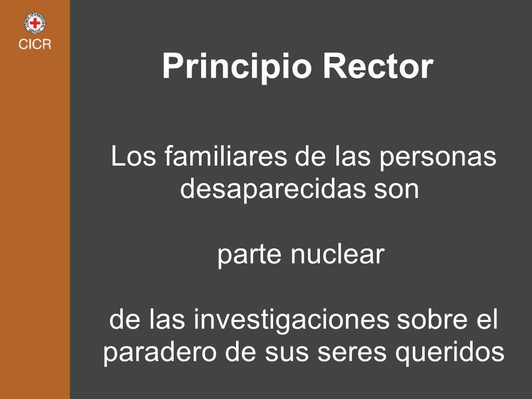 Principio Rector Los familiares de las personas desaparecidas son parte nuclear de las investigaciones sobre el paradero de sus seres queridos
