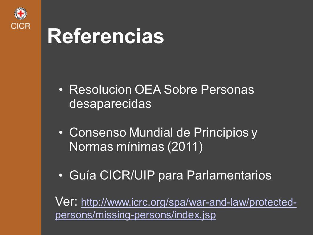 Referencias Resolucion OEA Sobre Personas desaparecidas Consenso Mundial de Principios y Normas mínimas (2011) Guía CICR/UIP para Parlamentarios Ver: