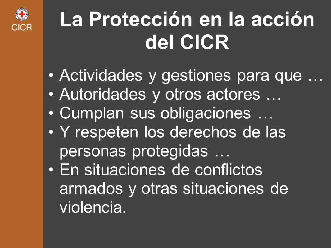 La Protección en la acción del CICR Actividades y gestiones para que … Autoridades y otros actores … Cumplan sus obligaciones … Y respeten los derecho