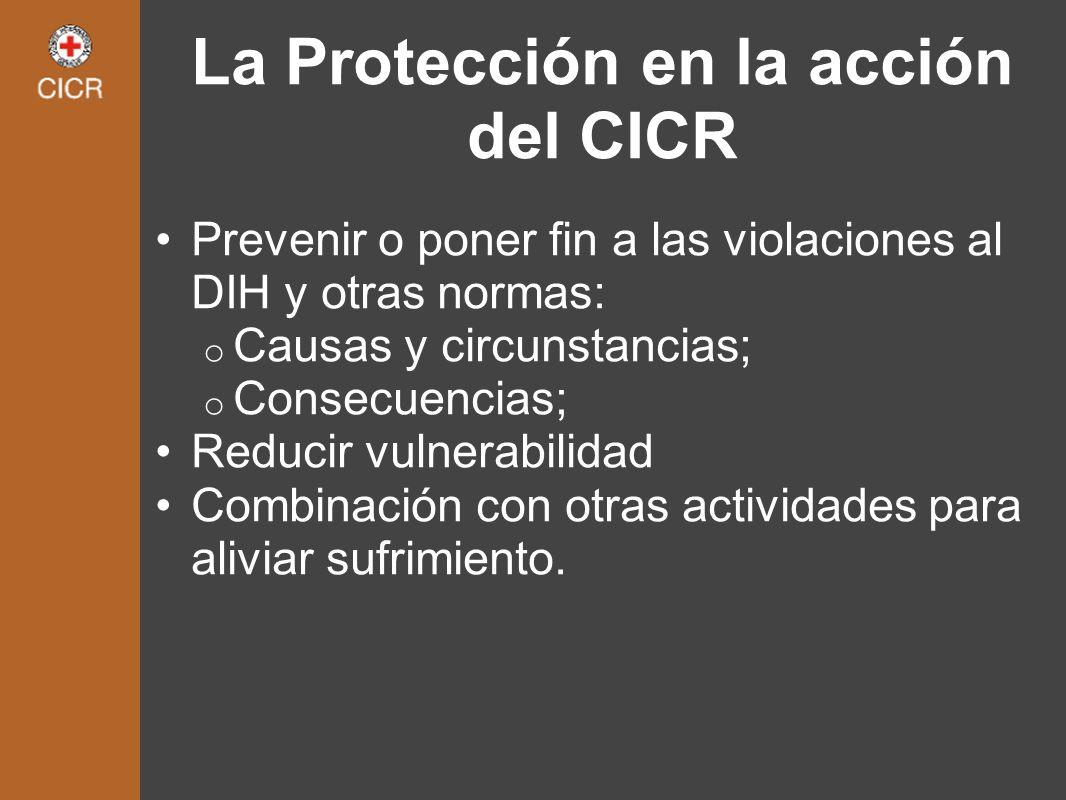 La Protección en la acción del CICR Prevenir o poner fin a las violaciones al DIH y otras normas: o Causas y circunstancias; o Consecuencias; Reducir