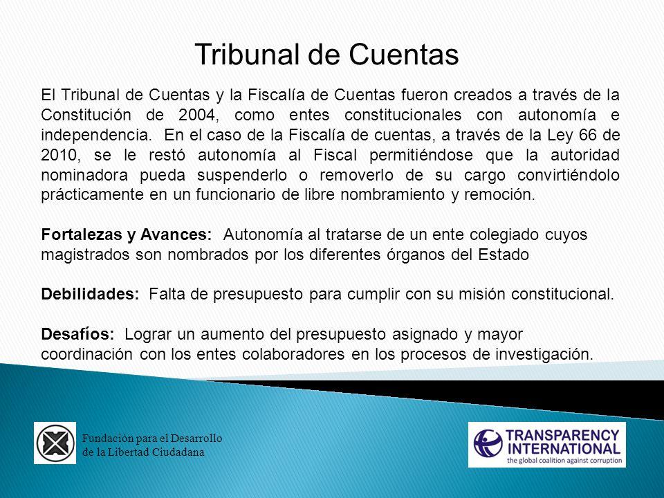 Fundación para el Desarrollo de la Libertad Ciudadana Tribunal de Cuentas El Tribunal de Cuentas y la Fiscalía de Cuentas fueron creados a través de l