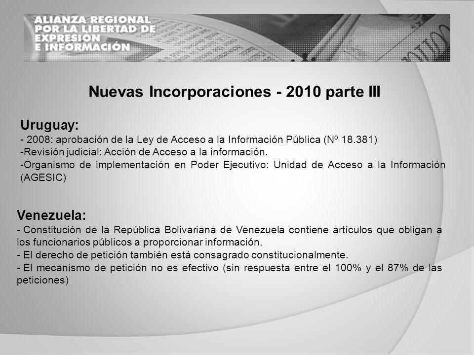 Nuevas Incorporaciones - 2010 parte III Uruguay: - 2008: aprobación de la Ley de Acceso a la Información Pública (Nº 18.381) -Revisión judicial: Acción de Acceso a la información.