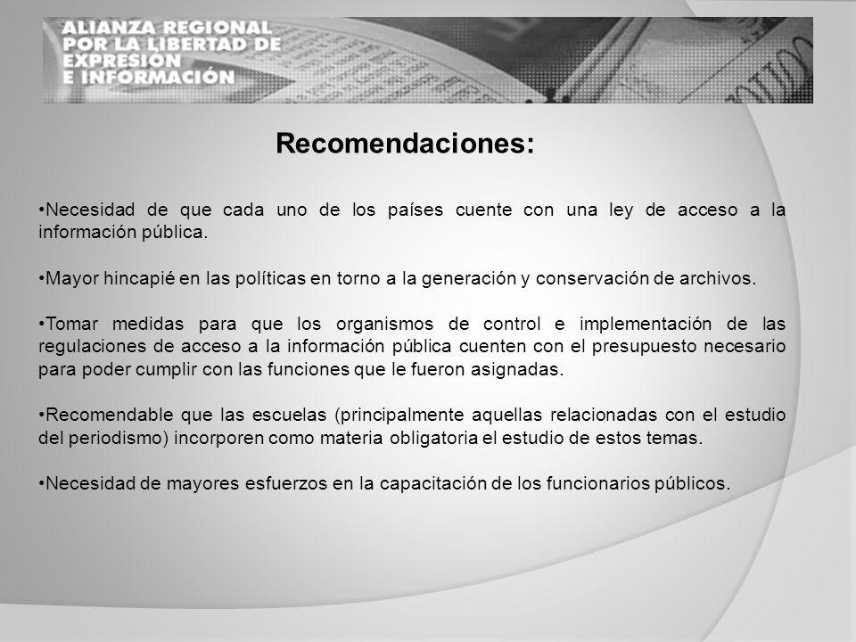 Necesidad de que cada uno de los países cuente con una ley de acceso a la información pública.