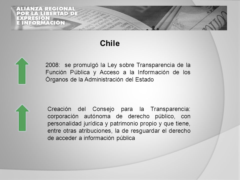 Costa Rica Se han comenzado a desarrollar recomendaciones sobre los aspectos mínimos que las páginas Web de los organismos públicos deben contener para facilitar el acceso a la información por parte de los ciudadano Todavía se encuentra pendiente la aprobación de una Ley de Transparencia y Acceso a la Información Pública en Costa Rica