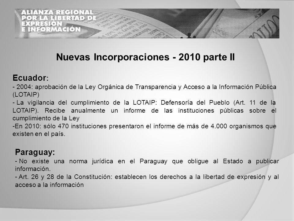 Ecuador : - 2004: aprobación de la Ley Orgánica de Transparencia y Acceso a la Información Pública (LOTAIP) - La vigilancia del cumplimiento de la LOTAIP: Defensoría del Pueblo (Art.