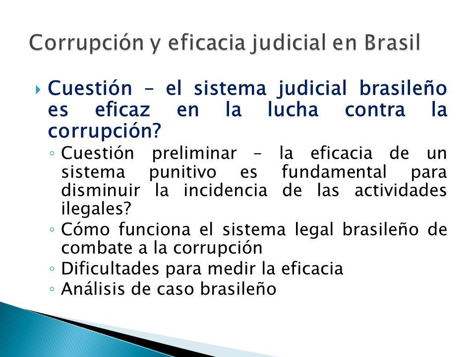 Cuestión – el sistema judicial brasileño es eficaz en la lucha contra la corrupción.