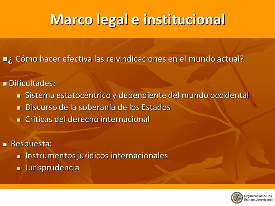 Marco legal e institucional ¿ Cómo hacer efectiva las reivindicaciones en el mundo actual? ¿ Cómo hacer efectiva las reivindicaciones en el mundo actu