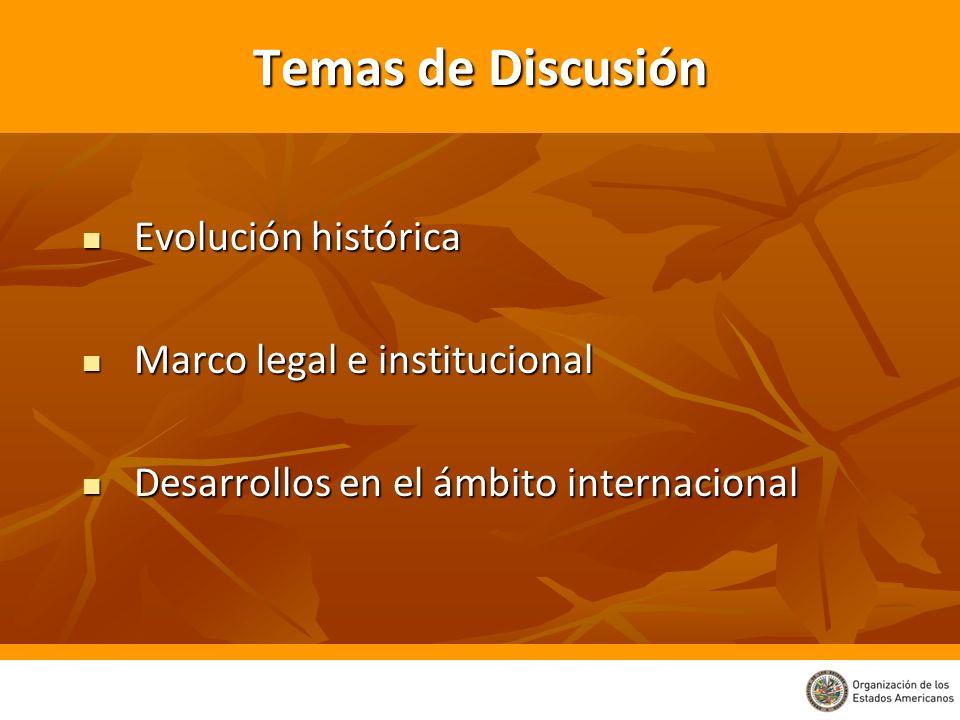 Temas de Discusión Evolución histórica Evolución histórica Marco legal e institucional Marco legal e institucional Desarrollos en el ámbito internacio