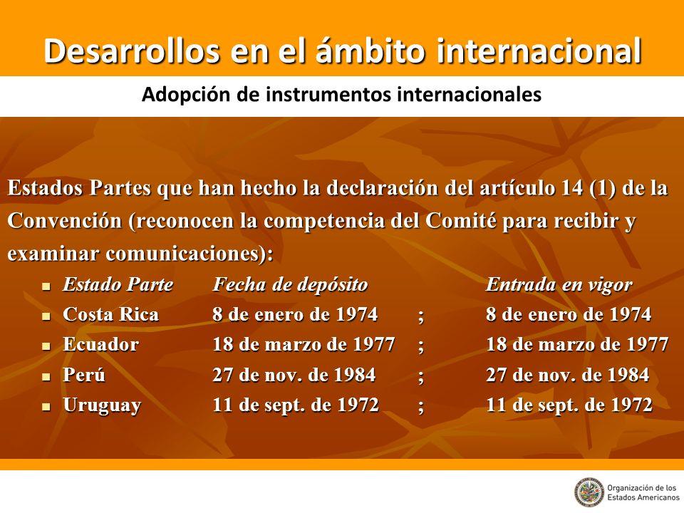 Estados Partes que han hecho la declaración del artículo 14 (1) de la Convención (reconocen la competencia del Comité para recibir y examinar comunica