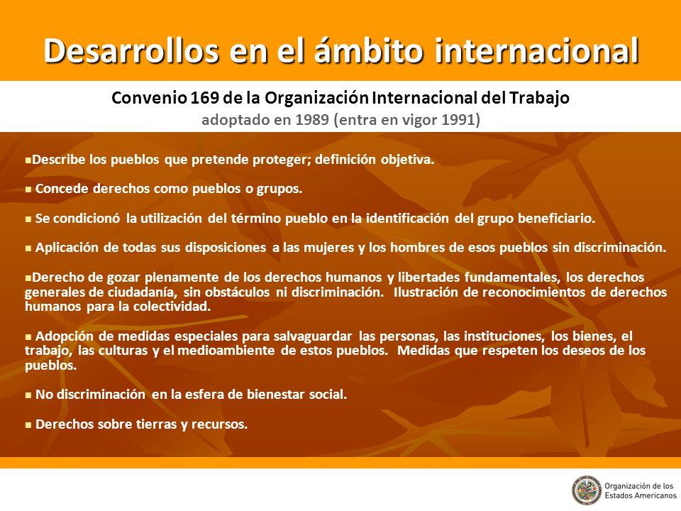 Convenio 169 de la Organización Internacional del Trabajo adoptado en 1989 (entra en vigor 1991) Describe los pueblos que pretende proteger; definició