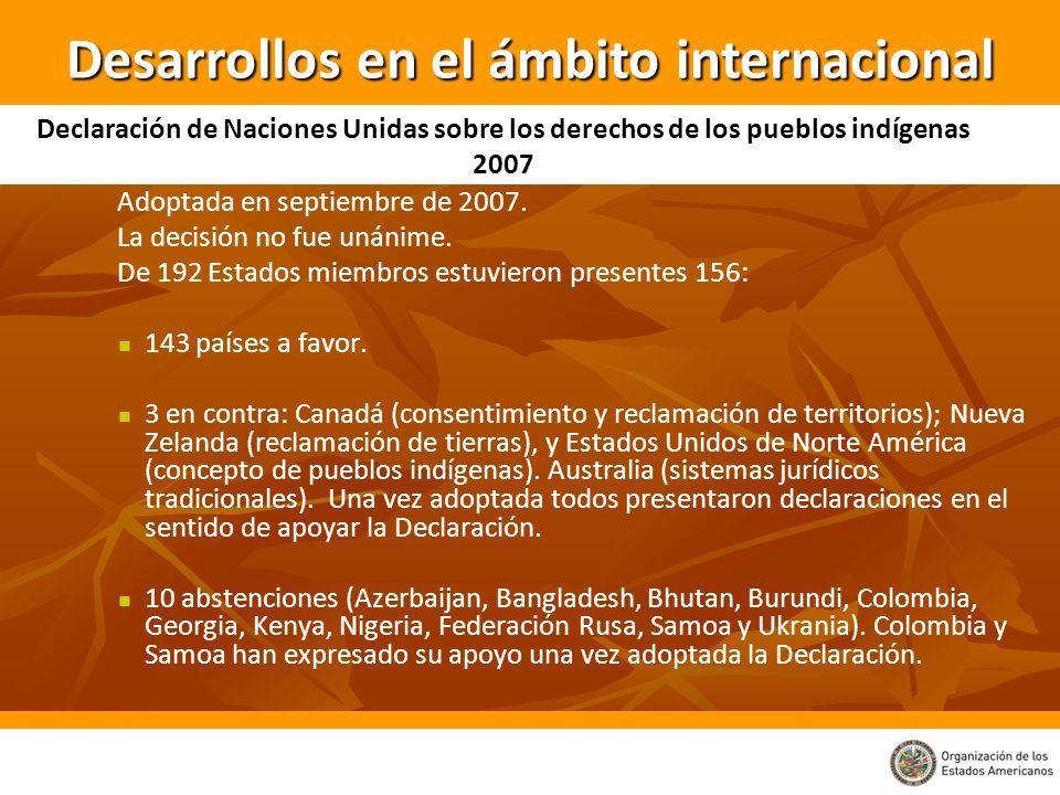 Adoptada en septiembre de 2007. La decisión no fue unánime. De 192 Estados miembros estuvieron presentes 156: 143 países a favor. 3 en contra: Canadá