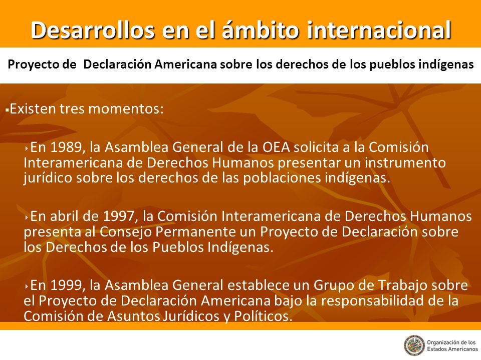 Existen tres momentos: En 1989, la Asamblea General de la OEA solicita a la Comisión Interamericana de Derechos Humanos presentar un instrumento juríd