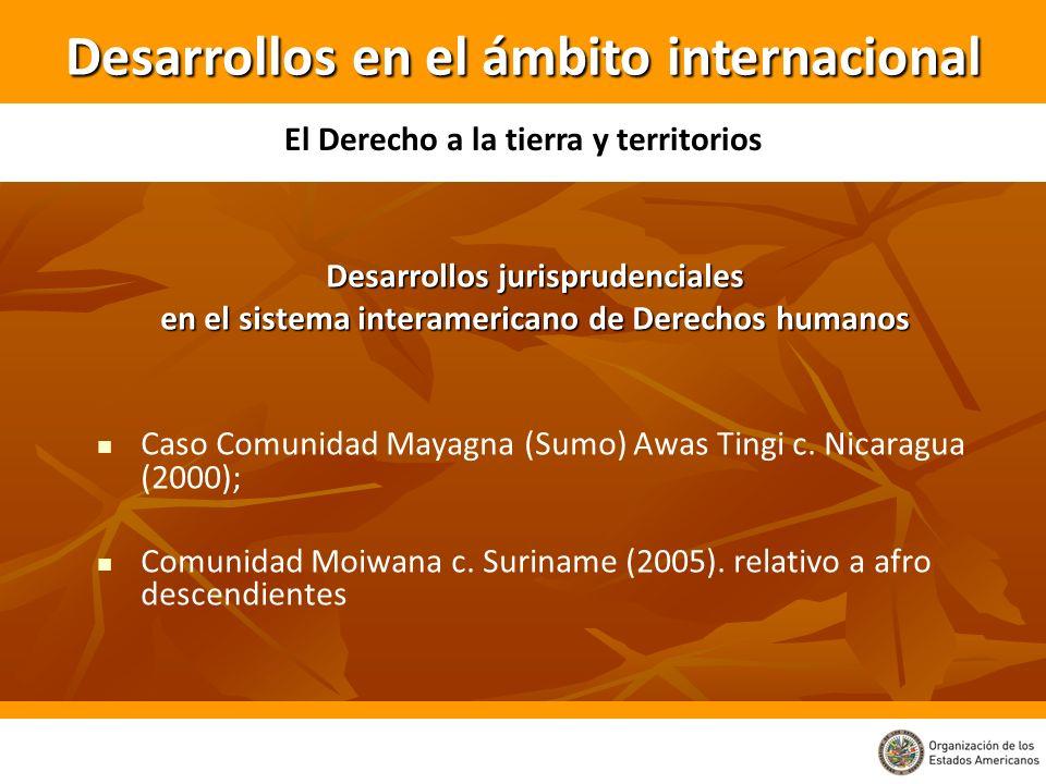 Desarrollos jurisprudenciales en el sistema interamericano de Derechos humanos Caso Comunidad Mayagna (Sumo) Awas Tingi c. Nicaragua (2000); Comunidad
