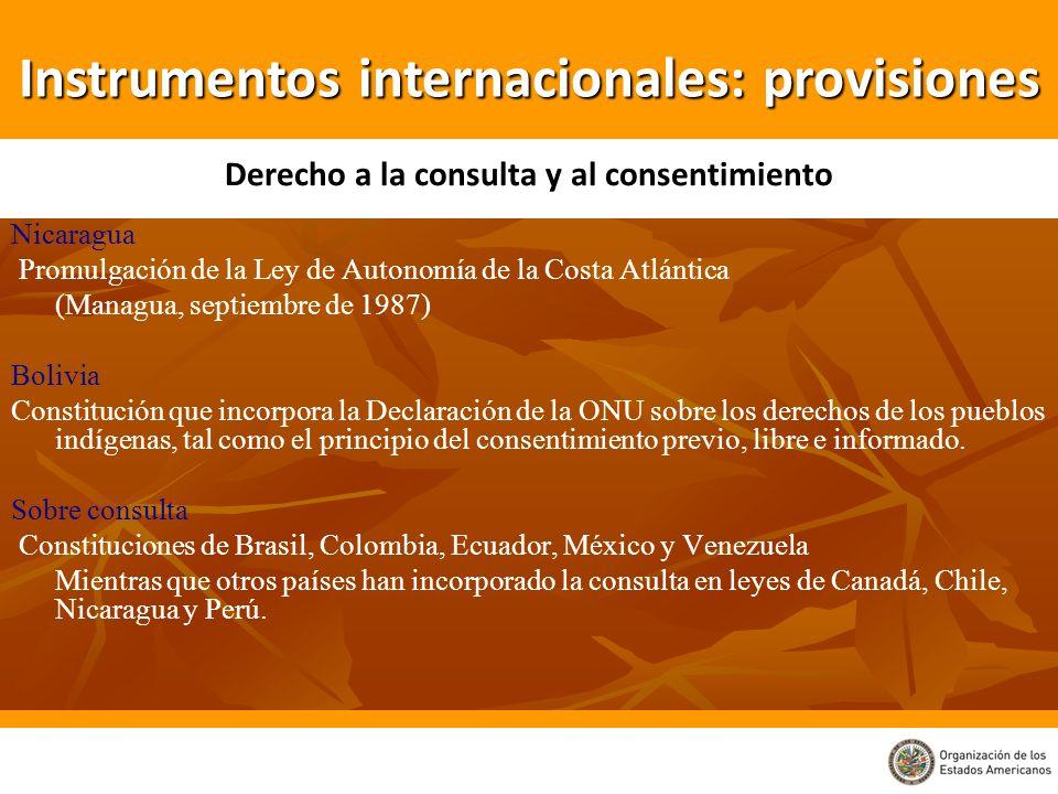 Nicaragua Promulgación de la Ley de Autonomía de la Costa Atlántica (Managua, septiembre de 1987) Bolivia Constitución que incorpora la Declaración de