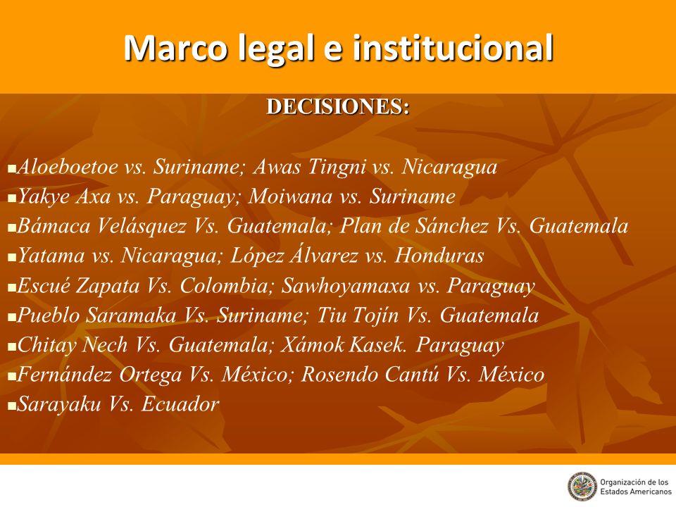 Marco legal e institucional DECISIONES: Aloeboetoe vs. Suriname; Awas Tingni vs. Nicaragua Yakye Axa vs. Paraguay; Moiwana vs. Suriname Bámaca Velásqu