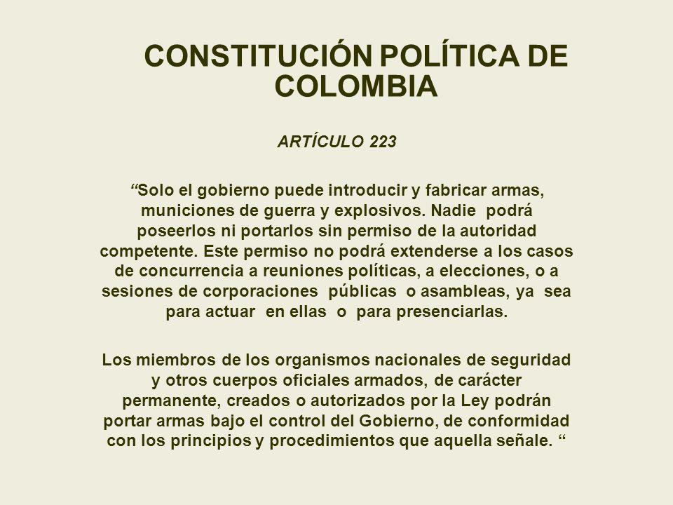 CONSTITUCIÓN POLÍTICA DE COLOMBIA ARTÍCULO 223 Solo el gobierno puede introducir y fabricar armas, municiones de guerra y explosivos. Nadie podrá pose