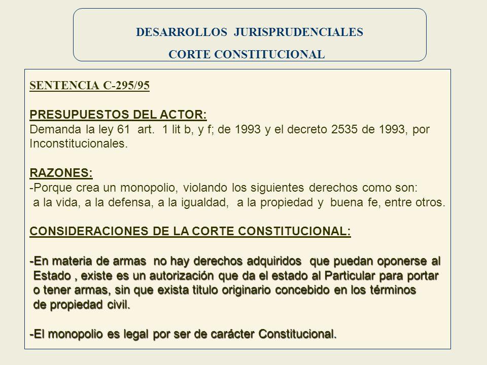 DESARROLLOS JURISPRUDENCIALES CORTE CONSTITUCIONAL SENTENCIA C-295/95 PRESUPUESTOS DEL ACTOR: Demanda la ley 61 art. 1 lit b, y f; de 1993 y el decret