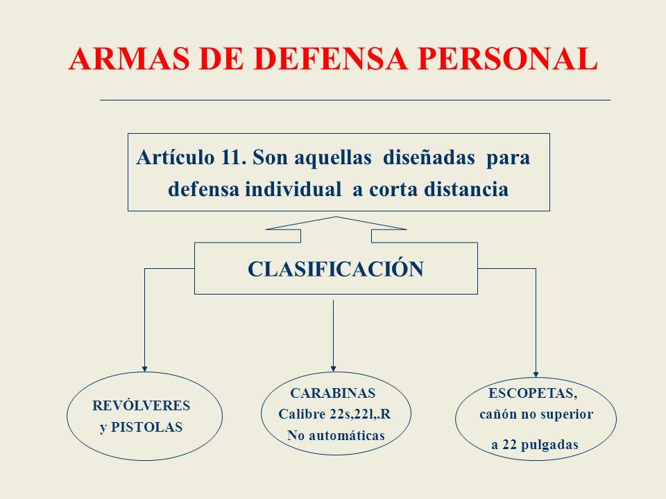 ARMAS DE DEFENSA PERSONAL Artículo 11. Son aquellas diseñadas para defensa individual a corta distancia CLASIFICACIÓN REVÓLVERES y PISTOLAS CARABINAS