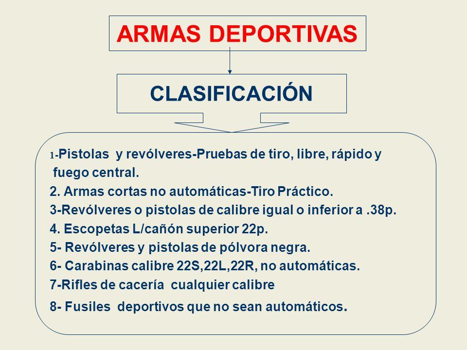 ARMAS DEPORTIVAS CLASIFICACIÓN 1 - Pistolas y revólveres-Pruebas de tiro, libre, rápido y fuego central. 2. Armas cortas no automáticas-Tiro Práctico.
