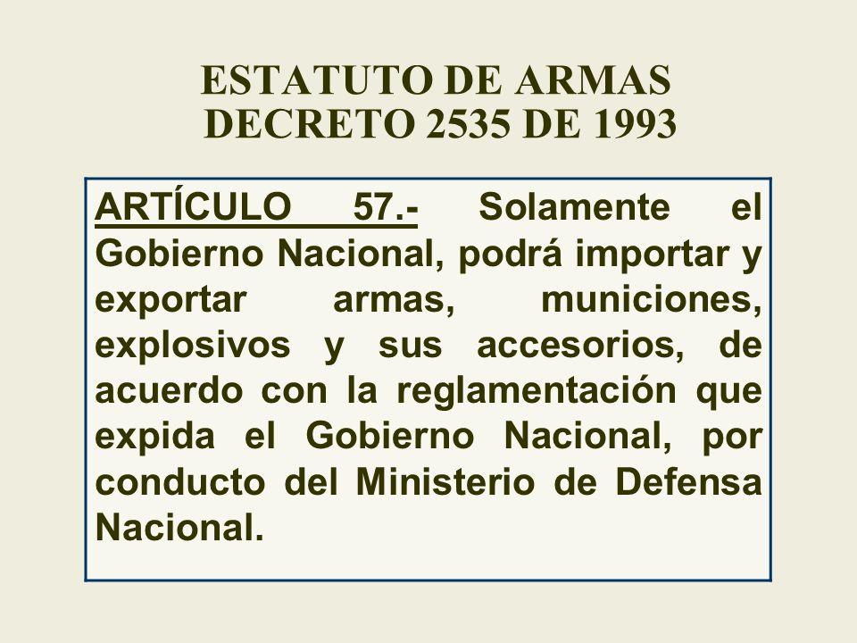 ESTATUTO DE ARMAS DECRETO 2535 DE 1993 ARTÍCULO 57.- Solamente el Gobierno Nacional, podrá importar y exportar armas, municiones, explosivos y sus acc