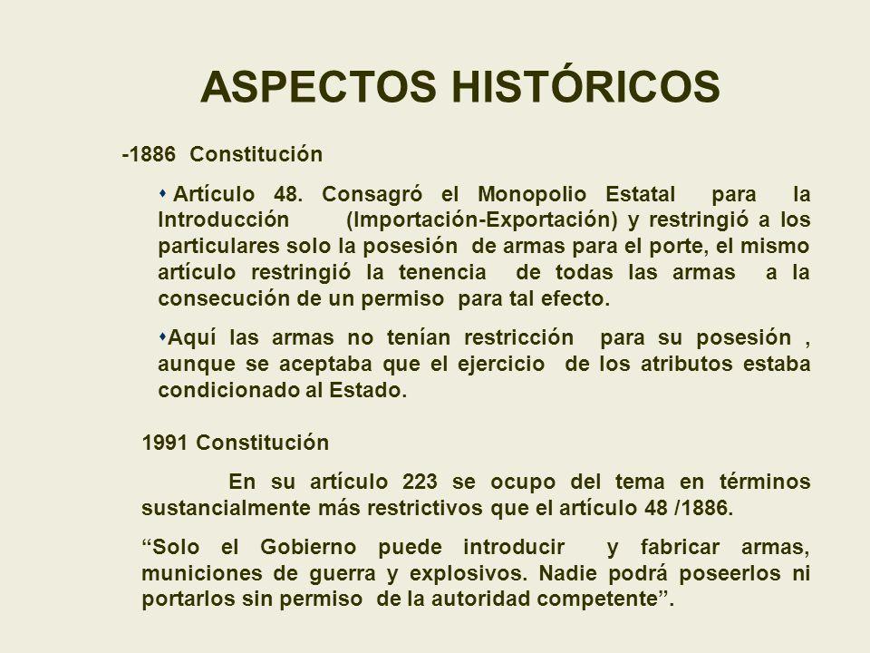ASPECTOS HISTÓRICOS -1886 Constitución Artículo 48. Consagró el Monopolio Estatal para la Introducción (Importación-Exportación) y restringió a los pa