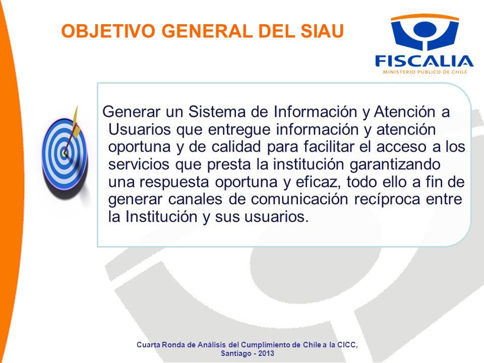 OBJETIVO GENERAL DEL SIAU Generar un Sistema de Información y Atención a Usuarios que entregue información y atención oportuna y de calidad para facil