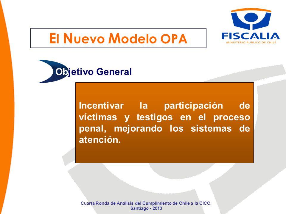 E l N uevo M odelo OPA Incentivar la participación de víctimas y testigos en el proceso penal, mejorando los sistemas de atención. Objetivo General Cu
