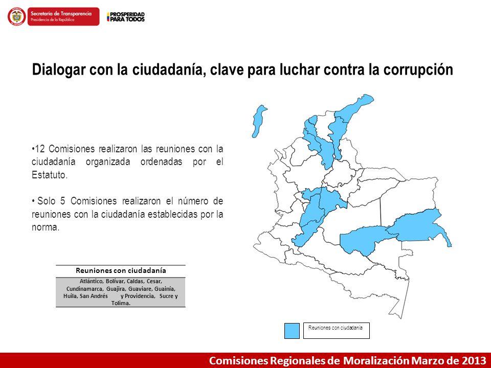Dialogar con la ciudadanía, clave para luchar contra la corrupción Comisiones Regionales de Moralización Marzo de 2013 Reuniones con ciudadanía Atlánt