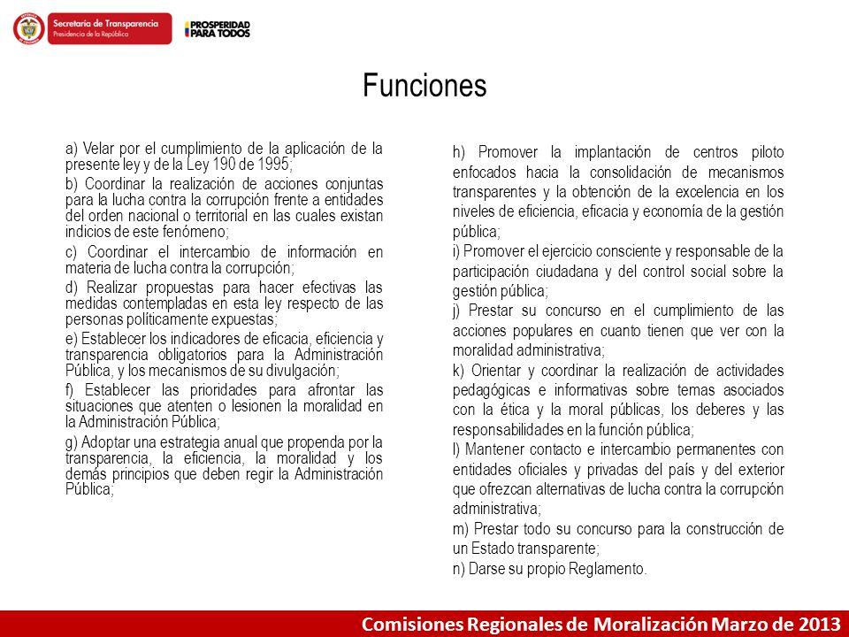 Comisiones Regionales de Moralización Marzo de 2013 Comisión Nacional de Moralización En la última reunión de esta Comisión, realizada el 6 de marzo de 2013 se revisaron los avances del año 2012, y se aprobaron las 5 líneas de trabajo de la Política Pública Integral Anticorrupción.