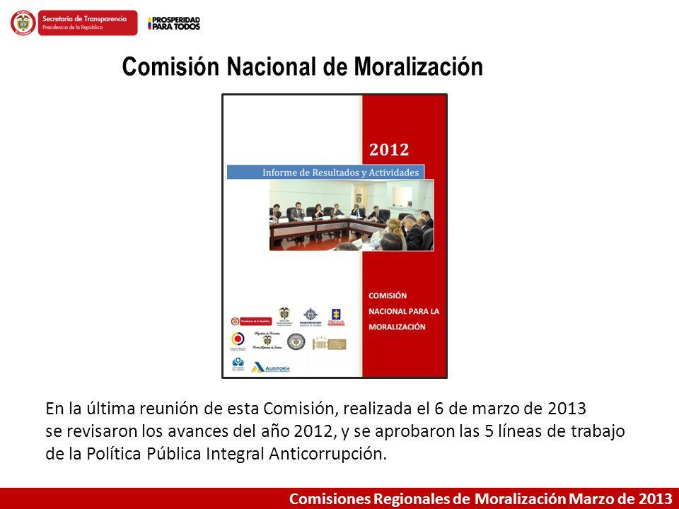Comisiones Regionales de Moralización Marzo de 2013 Comisión Nacional de Moralización En la última reunión de esta Comisión, realizada el 6 de marzo d