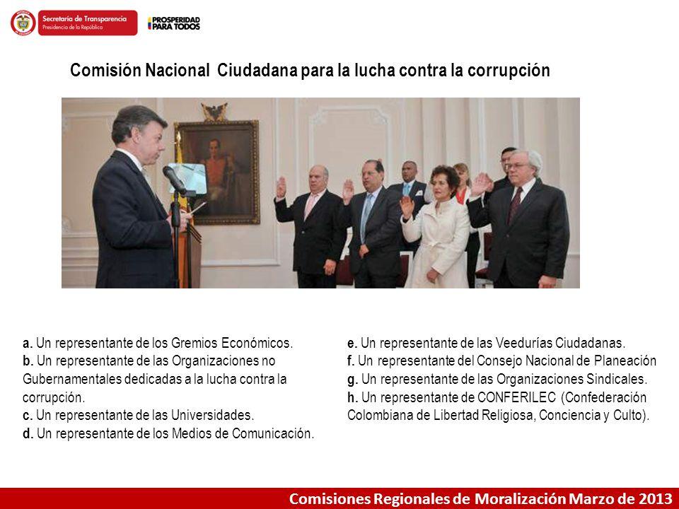 Comisiones Regionales de Moralización Marzo de 2013 Comisión Nacional Ciudadana para la lucha contra la corrupción a. Un representante de los Gremios