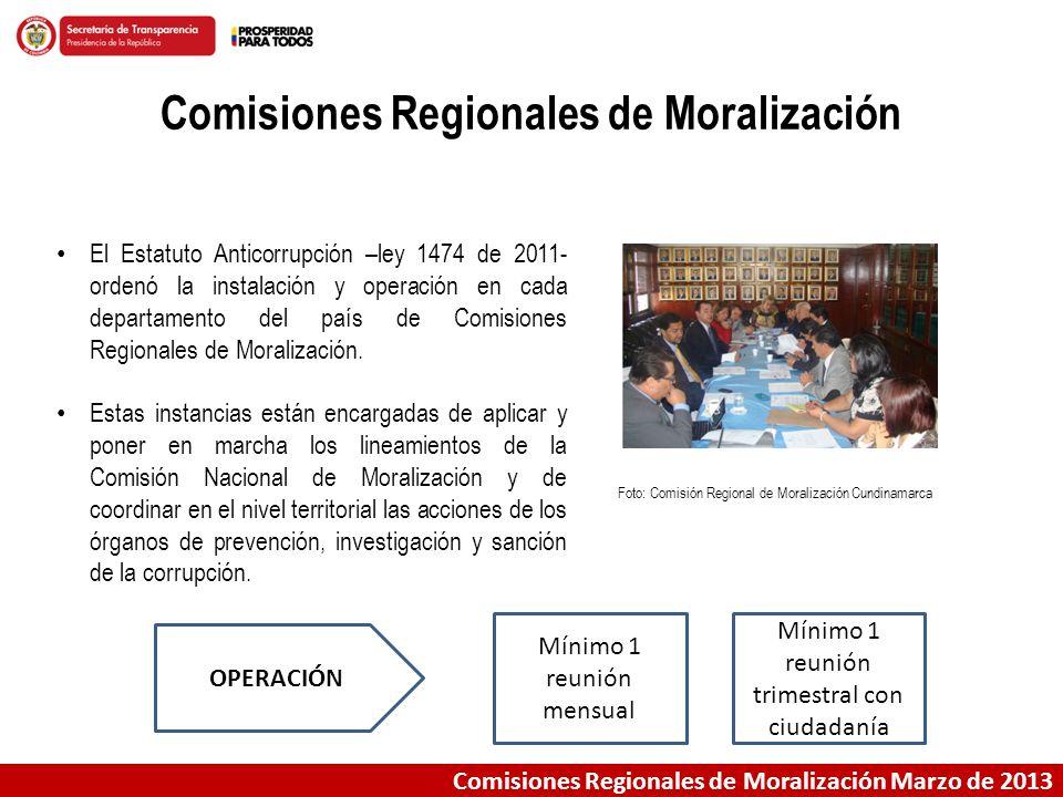 Comisiones Regionales de Moralización Marzo de 2013 Comisiones Regionales de Moralización El Estatuto Anticorrupción –ley 1474 de 2011- ordenó la inst
