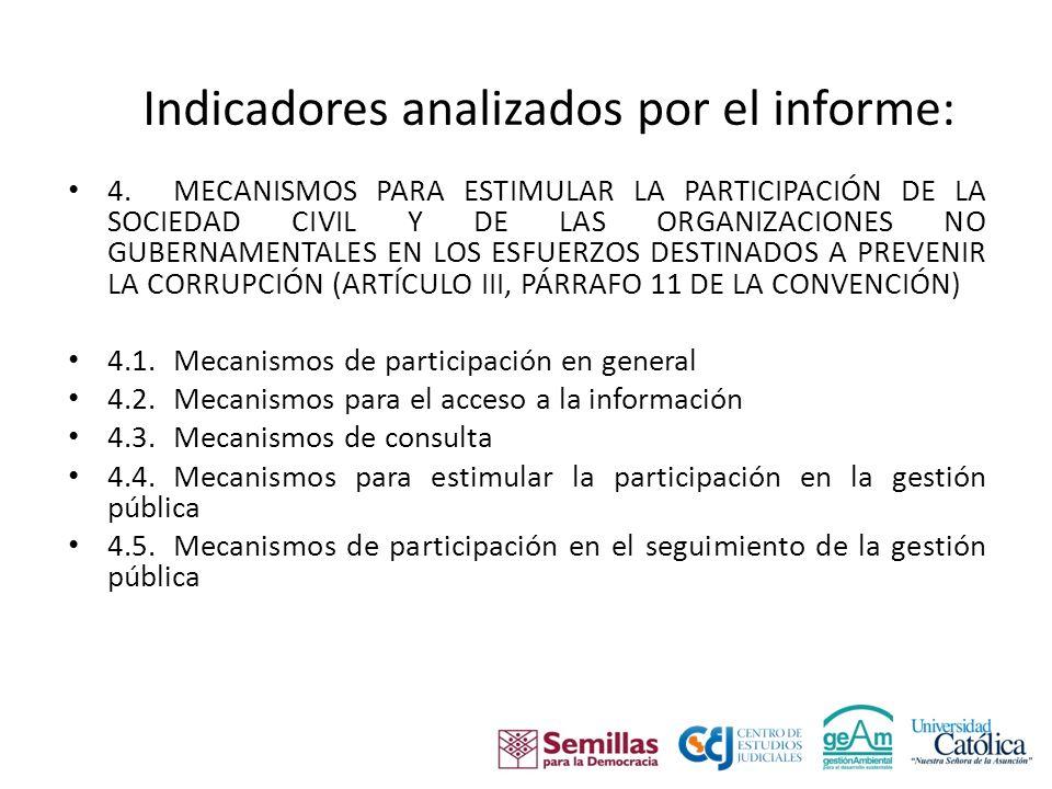 Indicadores analizados por el informe: 4.