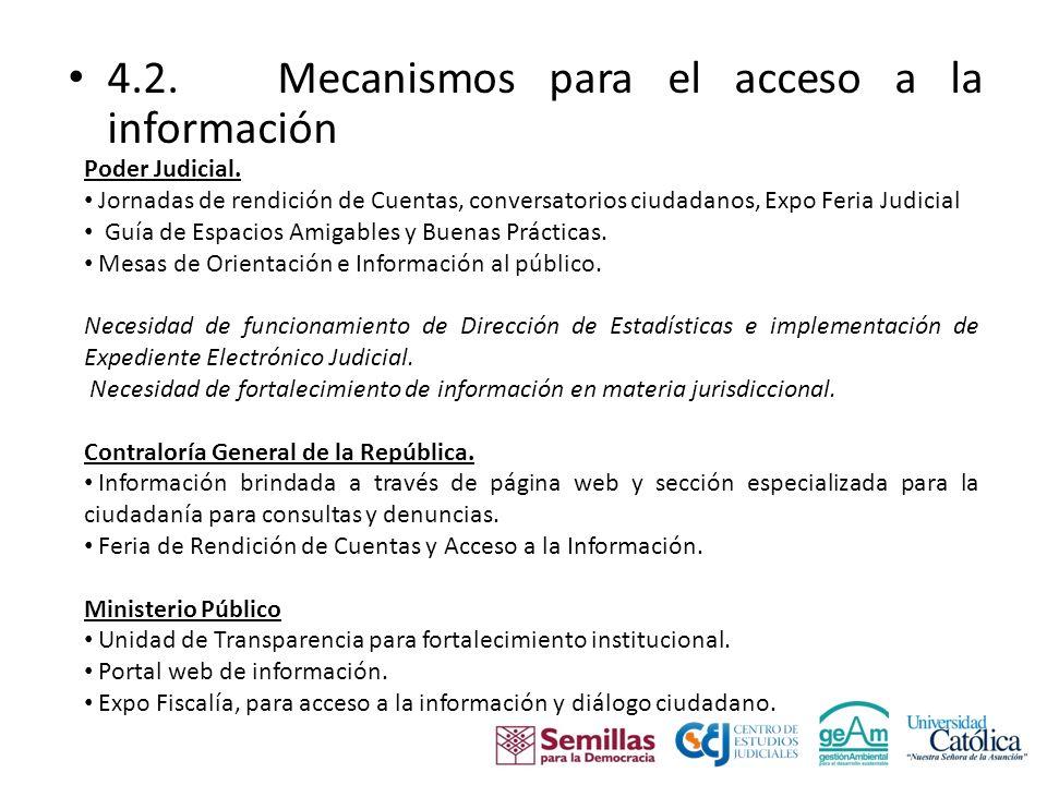 4.2. Mecanismos para el acceso a la información Poder Judicial.
