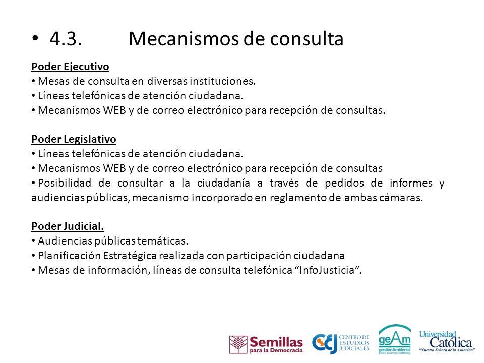 4.3. Mecanismos de consulta Poder Ejecutivo Mesas de consulta en diversas instituciones.