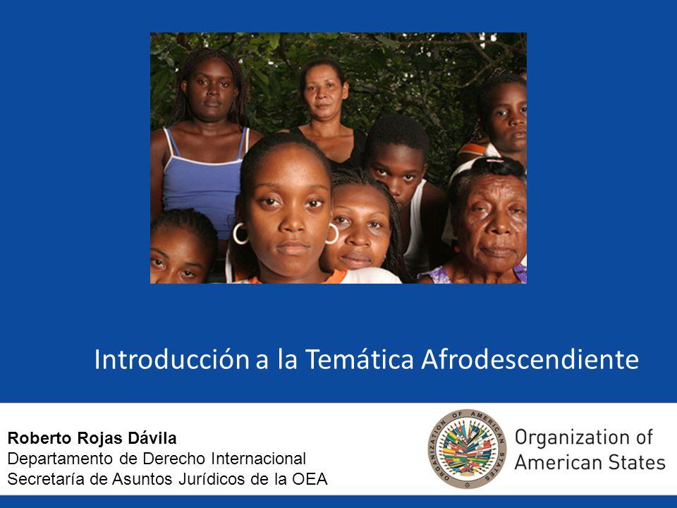 Introducción a la Temática Afrodescendiente Roberto Rojas Dávila Departamento de Derecho Internacional Secretaría de Asuntos Jurídicos de la OEA