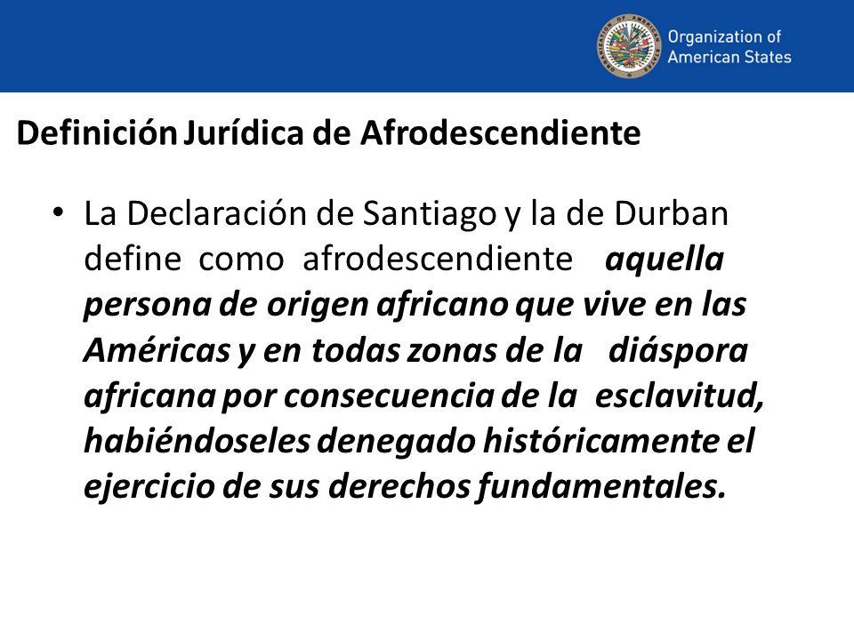 Definición Jurídica de Afrodescendiente La Declaración de Santiago y la de Durban define como afrodescendiente aquella persona de origen africano que