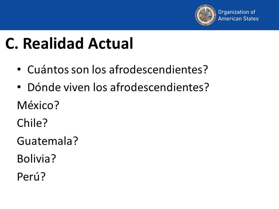 C. Realidad Actual Cuántos son los afrodescendientes? Dónde viven los afrodescendientes? México? Chile? Guatemala? Bolivia? Perú?