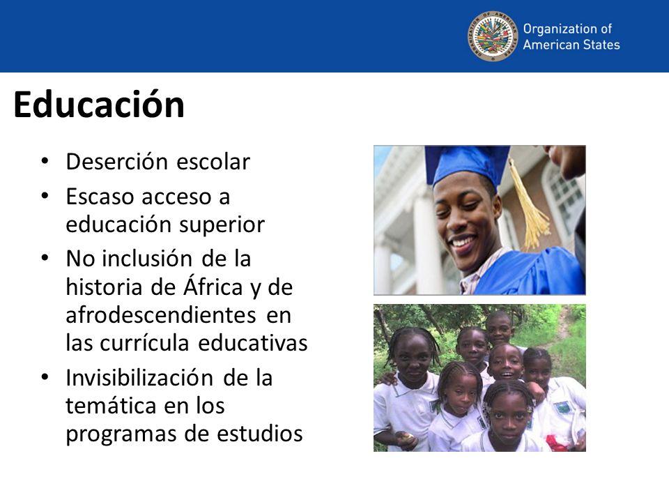 Educación Deserción escolar Escaso acceso a educación superior No inclusión de la historia de África y de afrodescendientes en las currícula educativa