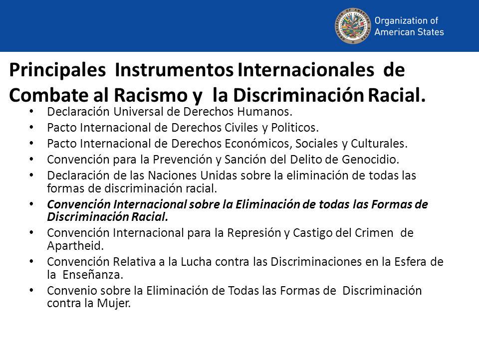 Principales Instrumentos Internacionales de Combate al Racismo y la Discriminación Racial. Declaración Universal de Derechos Humanos. Pacto Internacio