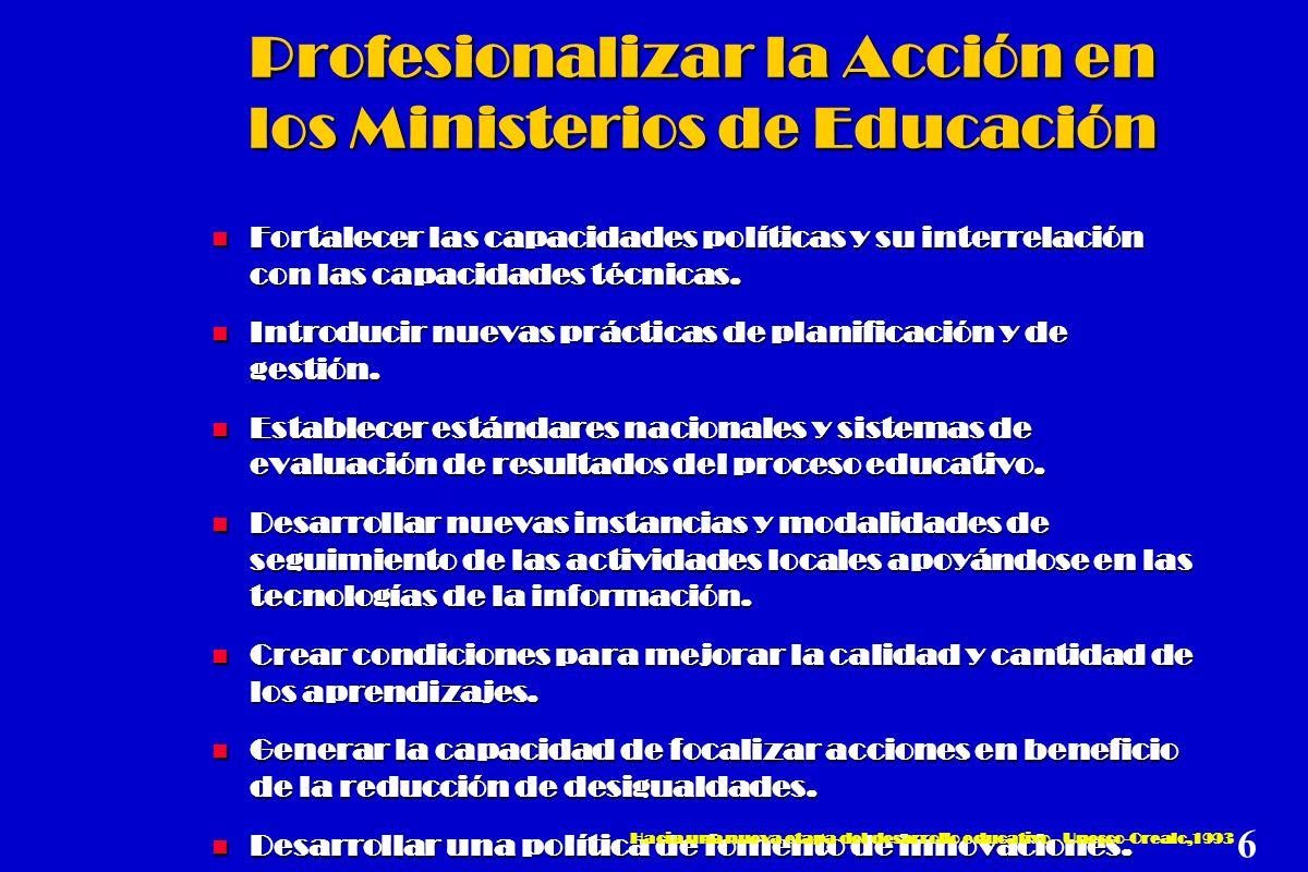 Profesionalizar la Acción en los Ministerios de Educación n Fortalecer las capacidades políticas y su interrelación con las capacidades técnicas. n In