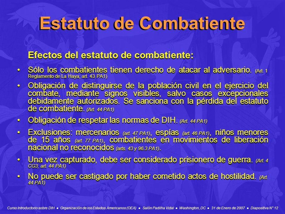 Curso Introductorio sobre DIH Organización de los Estados Americanos (OEA) Salón Padilha Vidal Washington, DC 31 de Enero de 2007 Diapositiva N° 12 Es