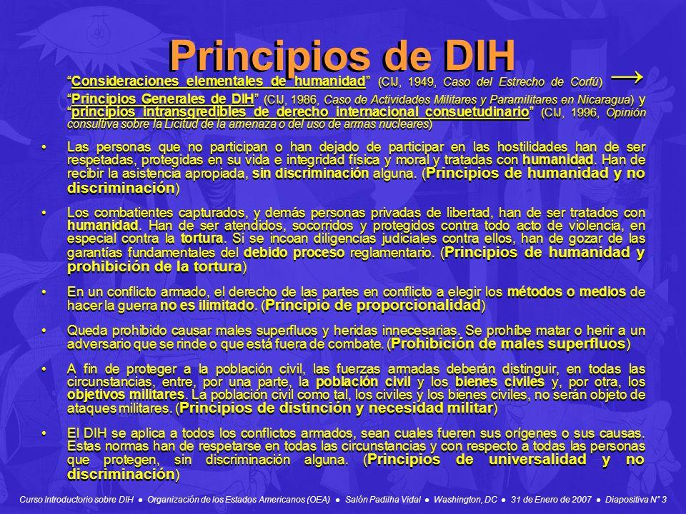 Curso Introductorio sobre DIH Organización de los Estados Americanos (OEA) Salón Padilha Vidal Washington, DC 31 de Enero de 2007 Diapositiva N° 3 Pri
