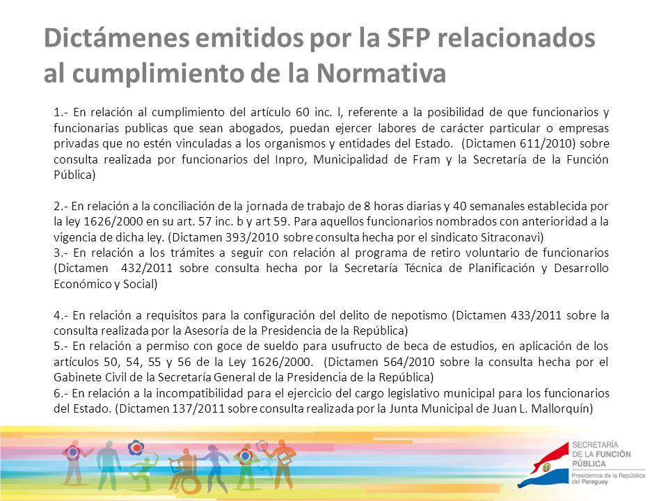 Dictámenes emitidos por la SFP relacionados al cumplimiento de la Normativa 1.- En relación al cumplimiento del artículo 60 inc. l, referente a la pos