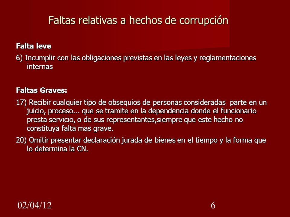 02/04/126 Faltas relativas a hechos de corrupción Falta leve 6) Incumplir con las obligaciones previstas en las leyes y reglamentaciones internas Falt